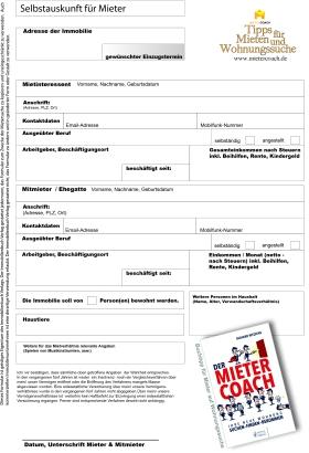 Selbstauskunft für Mieter und Mietinteressenten zur Nachmietersuche zum kostenfreien download